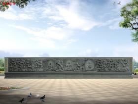 三世佛浮雕壁画图片样式