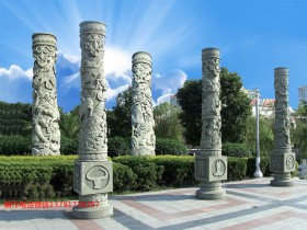 现代石雕文化柱图片_十二生肖文化柱样式大全介绍