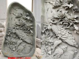 """牡丹花开富贵浮雕图开在石头上的""""奇观"""""""