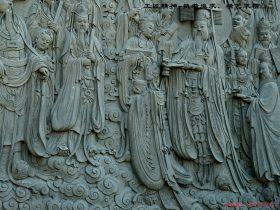 传统大型浮雕-道教神仙浮雕朝元图壁画雕刻厂家