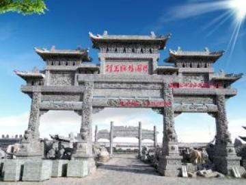 广州农村祠堂石牌坊效果图寓意