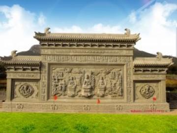 寺院影壁墙图片大全-青石佛像观音照壁浮雕效果图