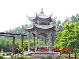 风景区石亭子_山水画中的乡村六角石凉亭