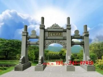 寺院山门石大门-道观石牌坊石牌楼
