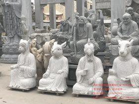 兽首人身十二生肖石雕与十二生肖铜兽首雕刻