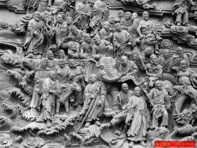寺庙十八罗汉石雕壁画制作厂家-五百罗汉浮雕图片