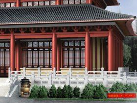 大雄宝殿石栏杆效果图-寺院石材护栏图案设计