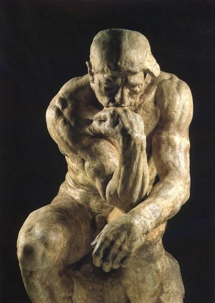 思想者雕刻像作者罗丹被誉为现代雕塑艺术之父。