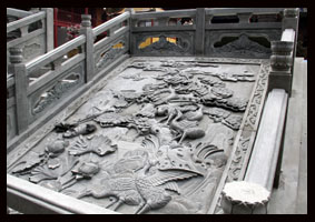 寺院雕刻作品浮雕松鹤御路图