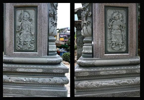 石牌坊上的门神浮雕