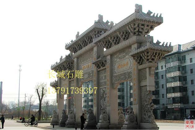 寺院石牌楼雕刻