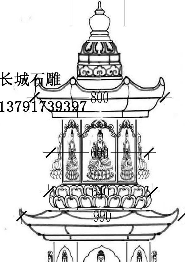 手绘寺院效果图