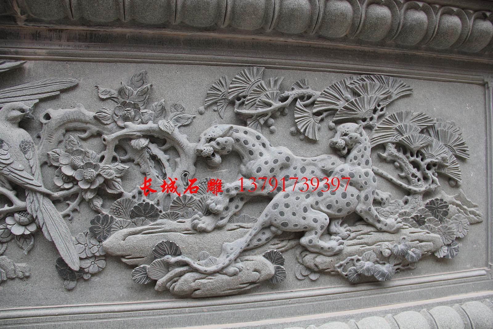 石雕牌坊浮雕设计-喜报三元,用喜鹊和豹子寓意吉祥。