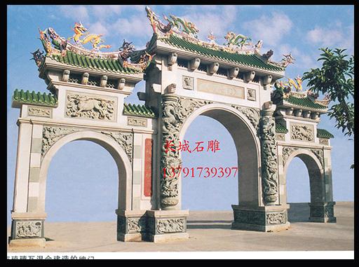 佛教石雕牌坊浮雕麒麟样式