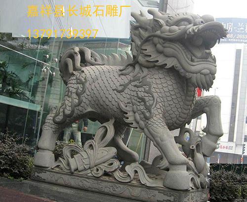 大门石雕麒麟_麒麟雕刻的作用