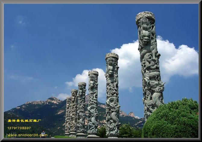 泰安天外村广场石雕龙柱