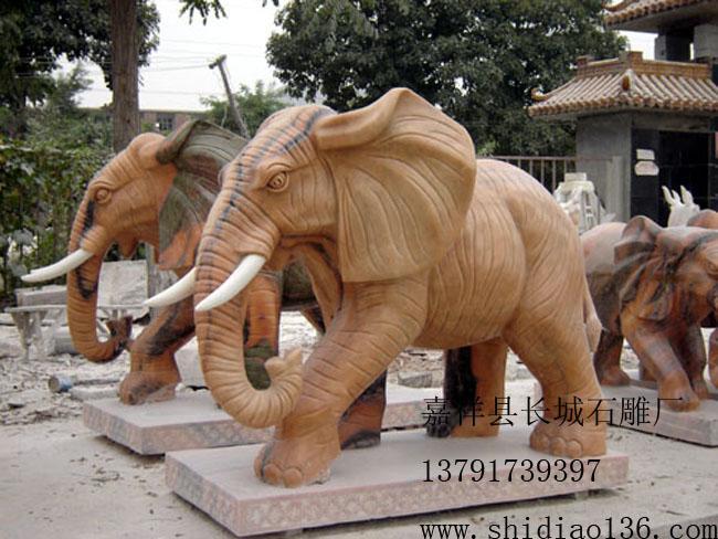 晚霞红大象雕刻