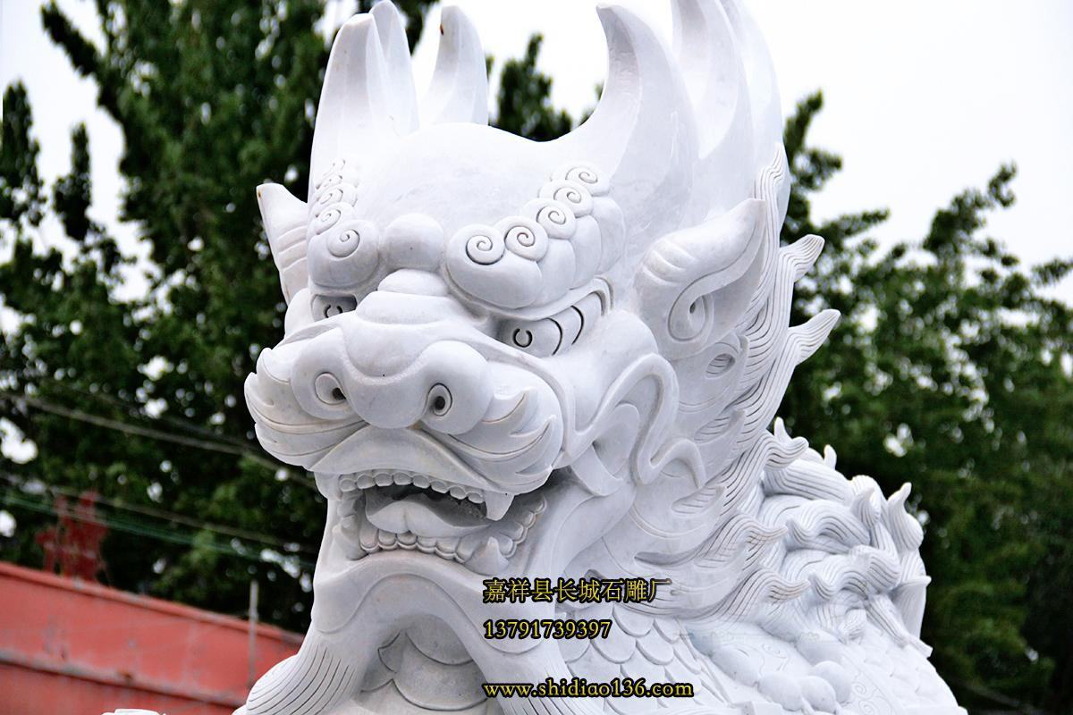 石雕汉白玉麒麟雕刻