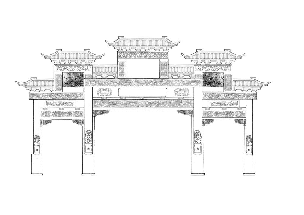 石牌坊斗拱设计图纸