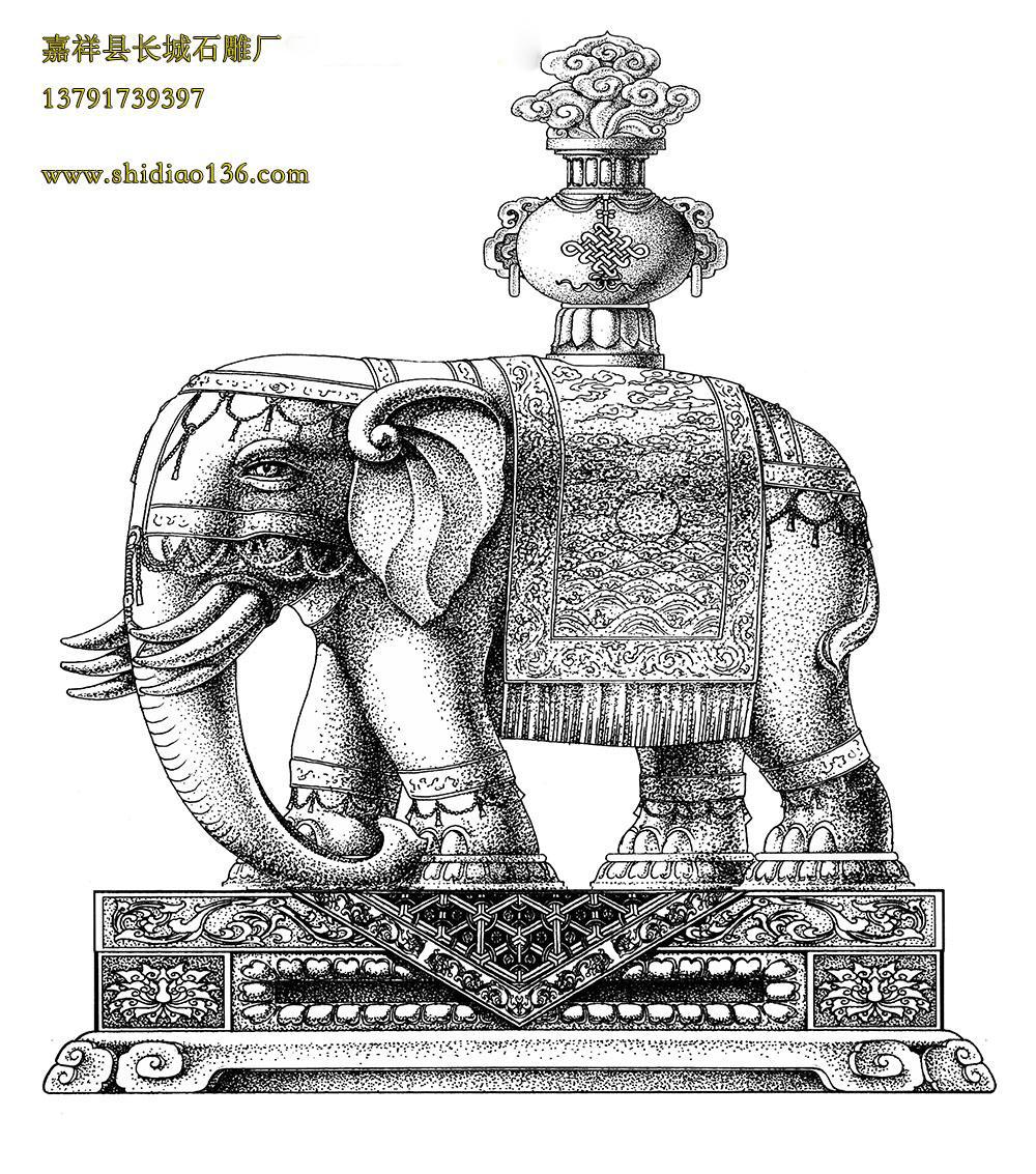 石雕大象设计图纸