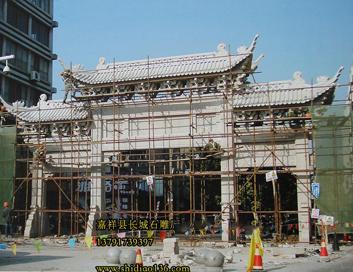 牌楼牌坊上面的石雕寿星雕刻图案