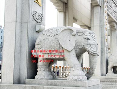 石雕大象-写实抽象写意大象雕刻