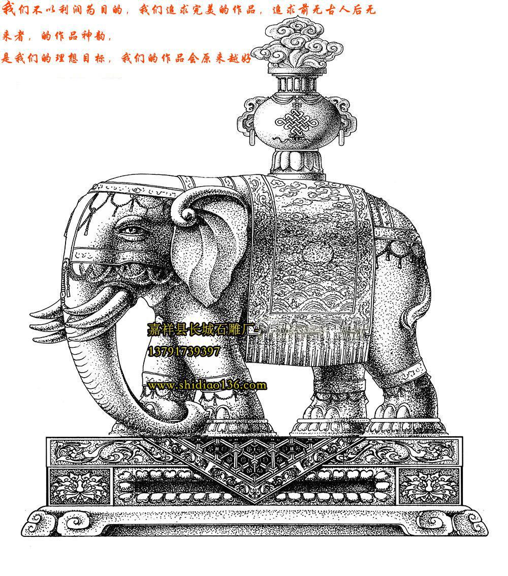 寺院大象手绘图