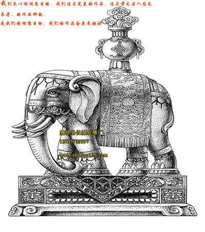 石雕大象设计图-安装地点寺院别墅大门景区等
