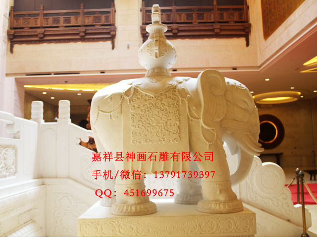 石雕大象雕刻设计是按照吉祥寓意设计的
