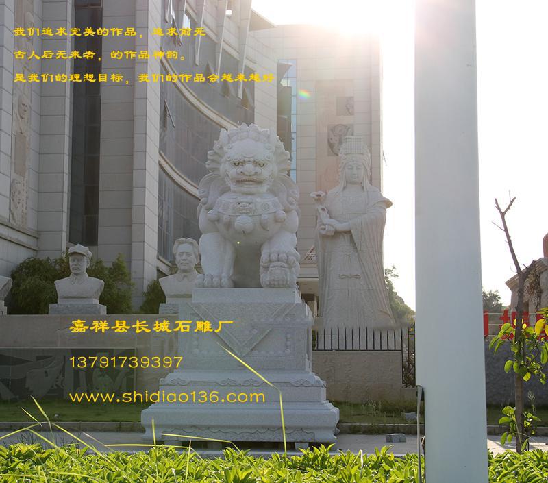 石狮子-花岗岩石雕狮子安装地点沧州