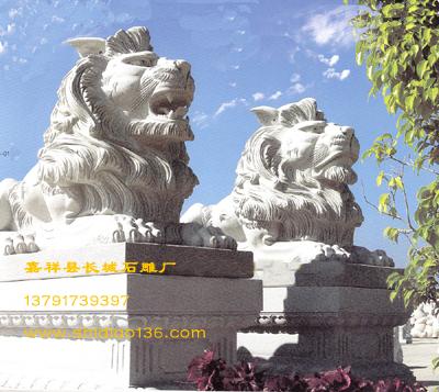 石狮子-石雕卧狮子的吉祥作用