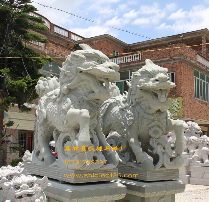 石雕麒麟-根据传统麒麟的雕刻造型所创新的石麒麟造型。
