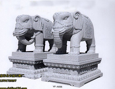 石雕大象-寺院雕刻-六牙神象石刻