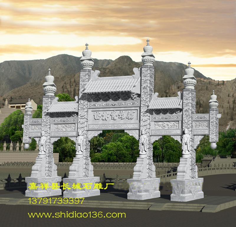 仿古石牌楼的制作及保护作用