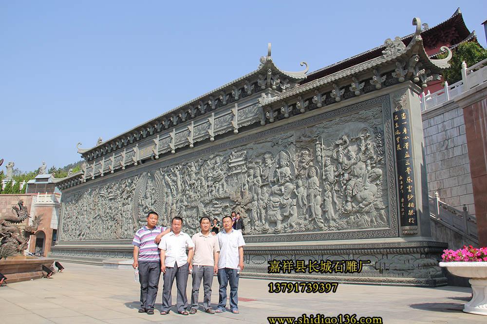 寺院观音浮雕照壁,寺院壁画
