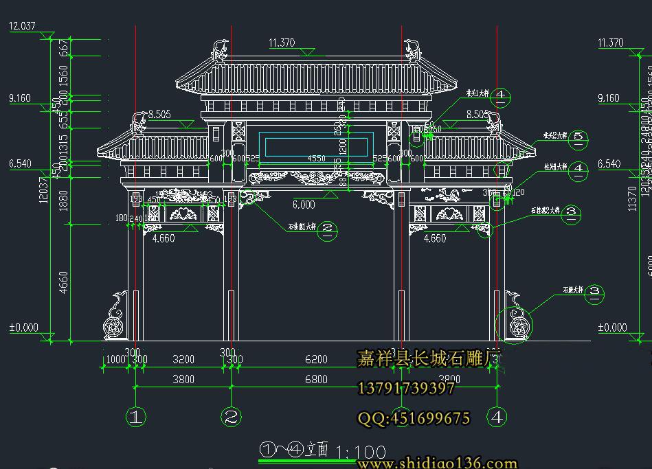 石牌坊CAD设计图