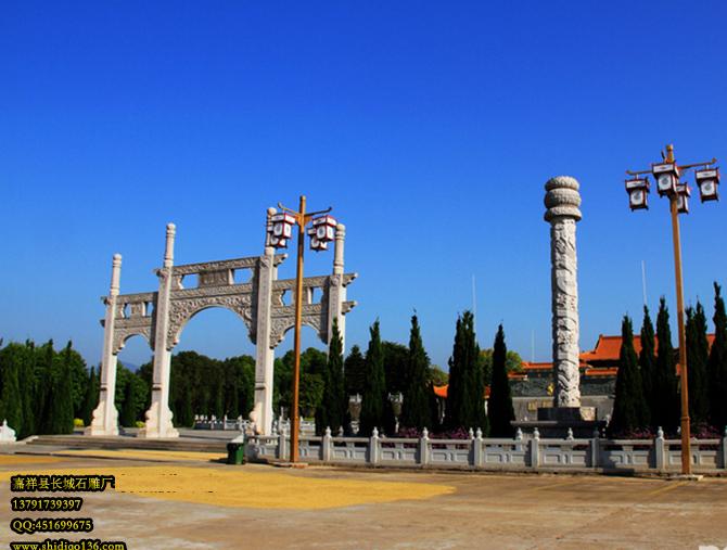 根据徽州石雕牌坊设计的寺院牌坊山门