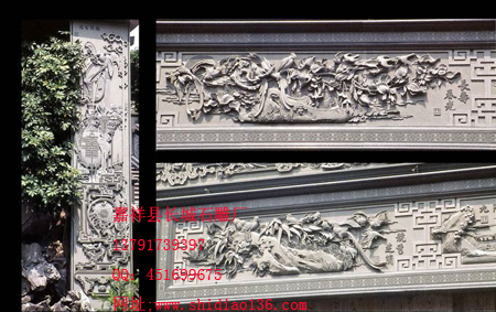 精美的花鸟浮雕牡丹雕刻图案