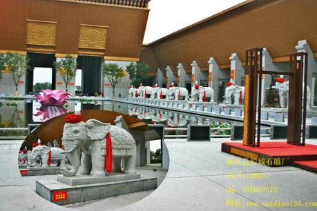 寺院石雕大象雕刻的吉祥意义