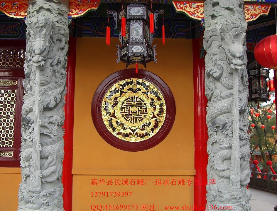 寺院龙柱雕刻
