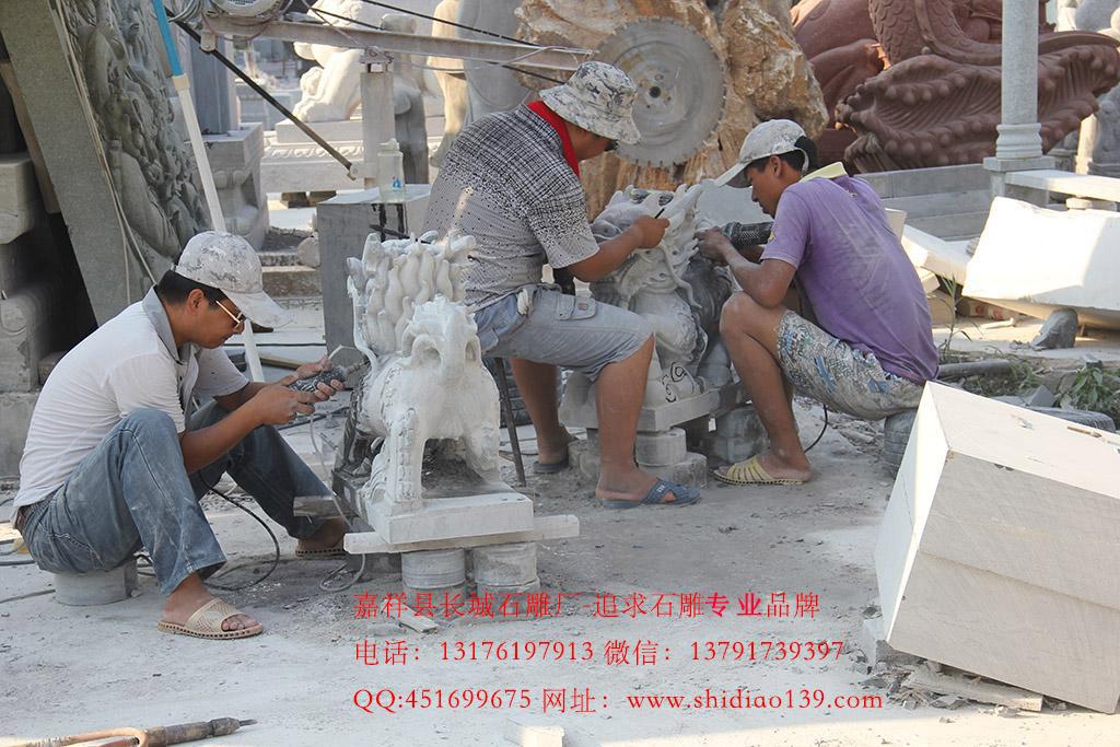 石麒麟制作雕刻现场图片