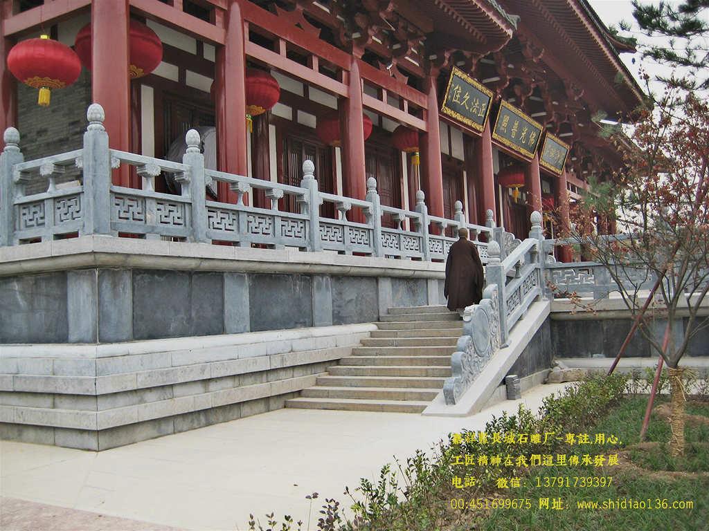 寺院石栏杆雕刻在建筑上样式应用
