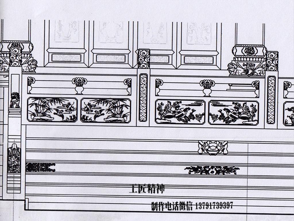 石栏杆cad尺寸设计图