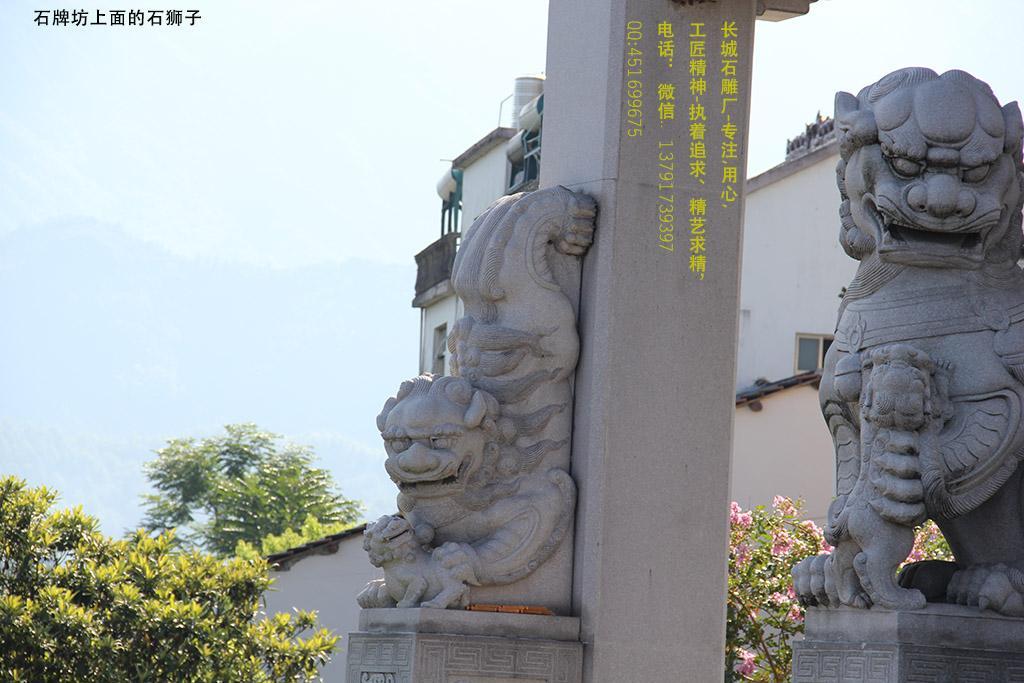 九华山牌坊抱鼓石上的石狮子