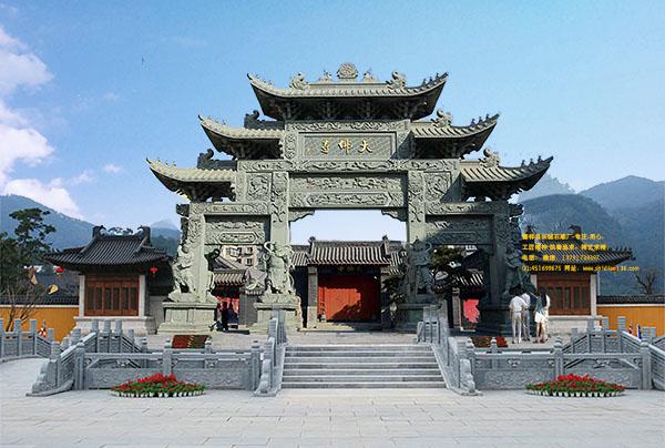 佛教山门石牌坊样式图和装饰意境