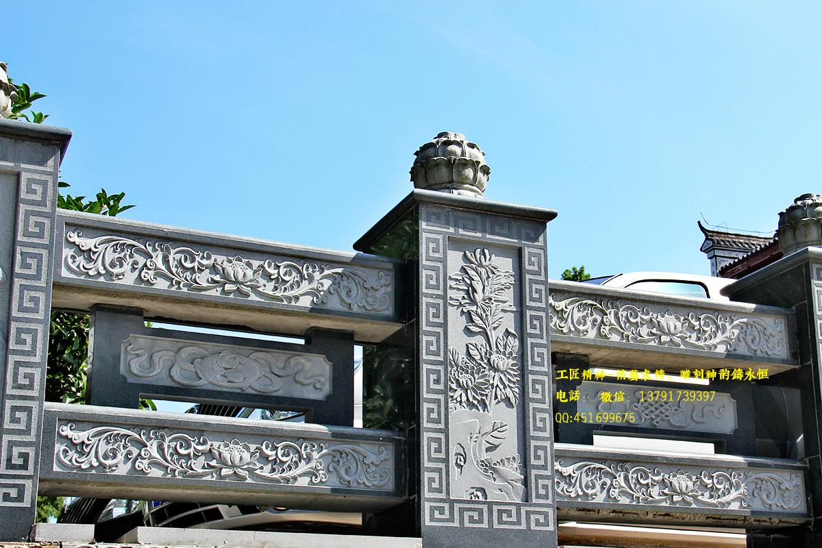 河边石栏杆,古建筑石雕栏杆