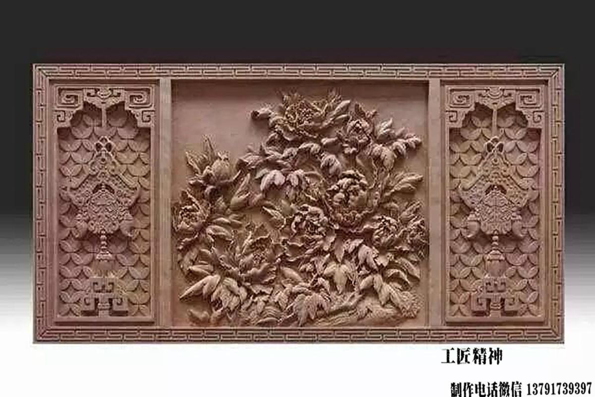 牡丹浮雕图案
