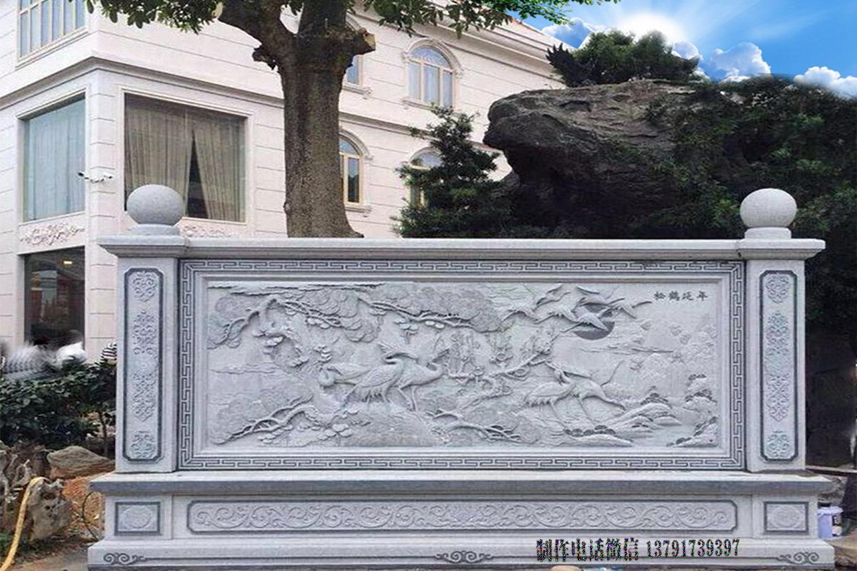 浮雕松鹤延年影壁雕刻图品