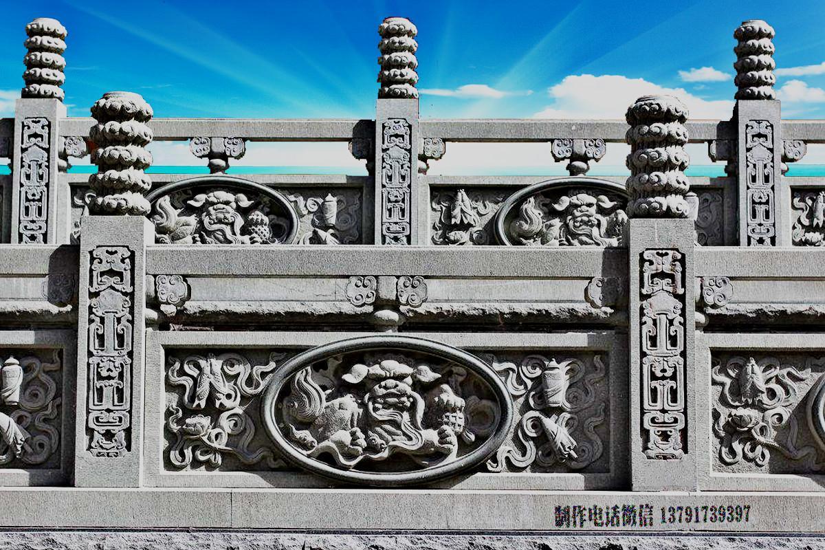 寺院石雕栏杆浮雕狮子