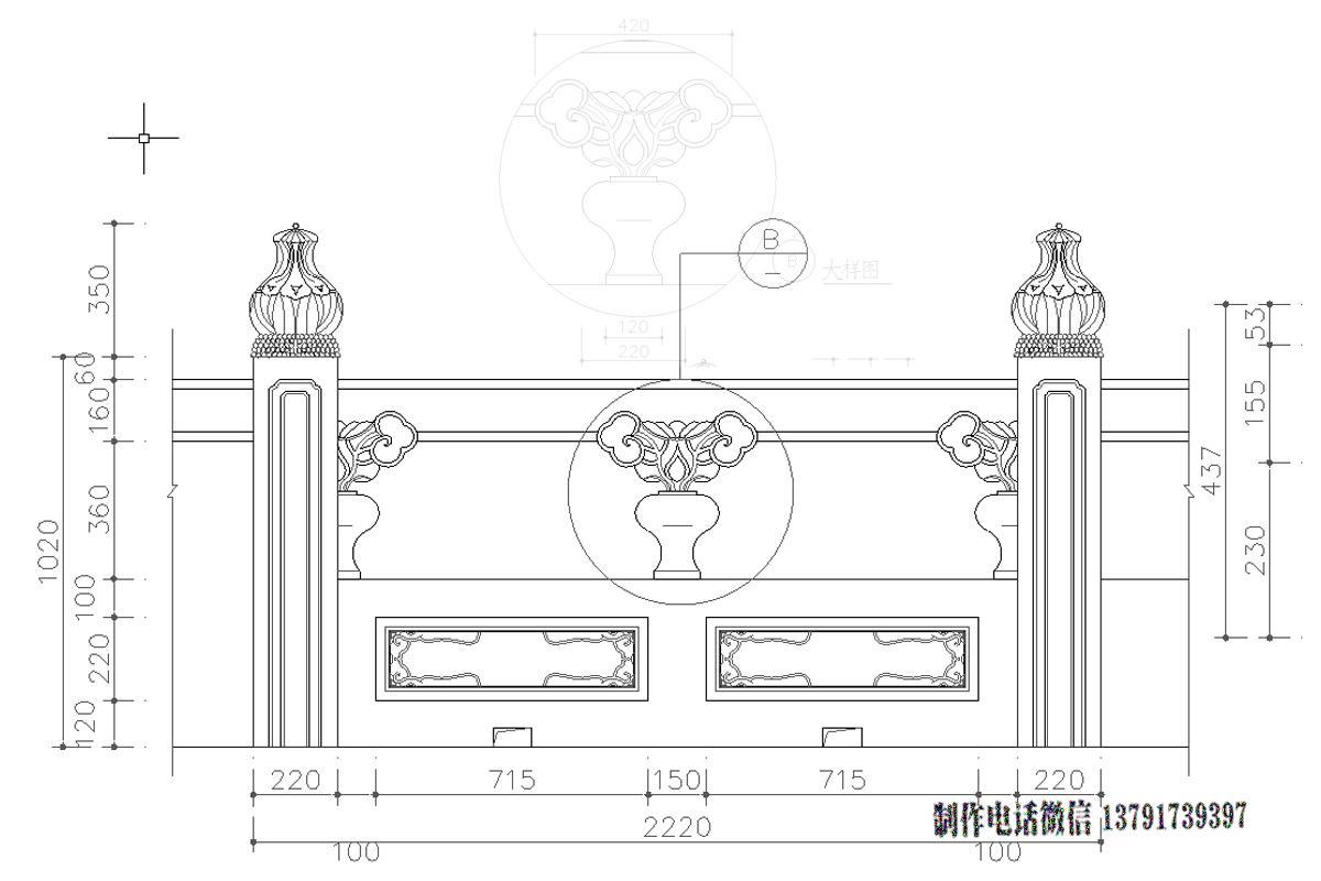 石栏杆尺寸设计图样式